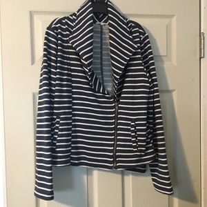 Mystree Navy/white striped sweatshirt jacket L